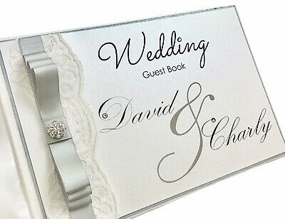 Wedding Guest Book Personalised With Diamante Pearl & Lace Rose Gold Any Colour! • 19.49£