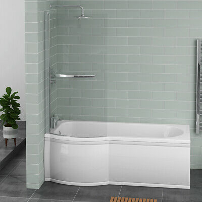 £434.97 • Buy White P Shape Shower Bath 1675 Mm With Front Panel & Pivoting Glass Screen