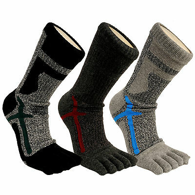 Mens Performance Anti Bacterial Microbial Athletes-Foot Therapy Finger Toe Socks • 12.33£