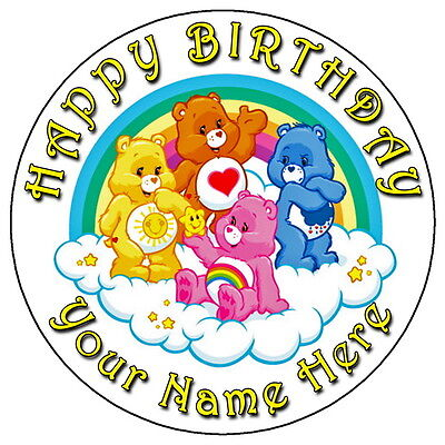 Care Bears Fun Party - 7.5  Personalised Round Edible Icing Cake Topper • 3.49£