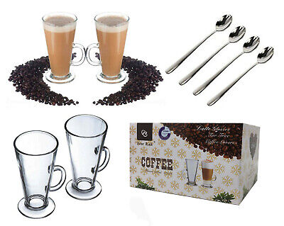 £11.99 • Buy 300ML  & 240ML Latte Glasses Cups Mugs Sets For Tea Coffee Cappuccino & More
