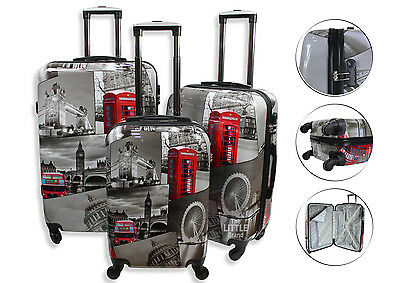Lightweight 4 Wheel Hard Shell PC London Printed Luggage Suitcase Cabin Travel  • 109.95£
