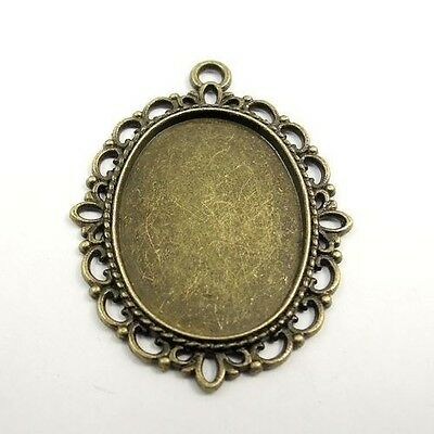 £3.24 • Buy 20pcs Antiqued Bronze Alloy Lace Oval Cameo Setting Tray Pendants Crafts 31520