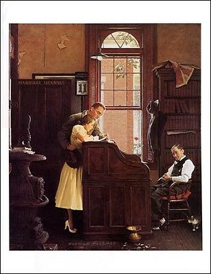 $ CDN19.99 • Buy Norman Rockwell Print Young Love THE MARRIAGE LICENSE