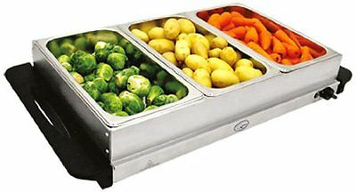 NEW! Stainless Steel 3 Pan Large Buffet Food Server & Warmer Hot Plate Tray • 25.95£