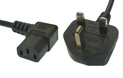 3m Black Mains Power Cable 90 Degree Right Angled Kettle Type IEC 320 C13 Socket • 8.39£