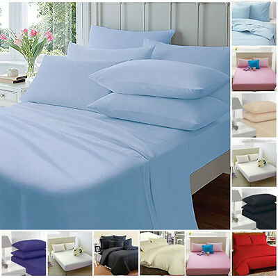 £2.95 • Buy  Fitted Sheets Single Double King Plain Dyed Percale Black Red Navy Pink White