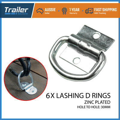 AU20.40 • Buy 6 X Lashing D Ring Zinc Plated Tie Down Points Trailer Centre Hole 30mm Anchor