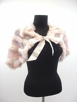 $26.99 • Buy 50% Rabbit Fur Soft Pink Cape Shoulder Cape With Tie Bow Shawl Scarf Onsz