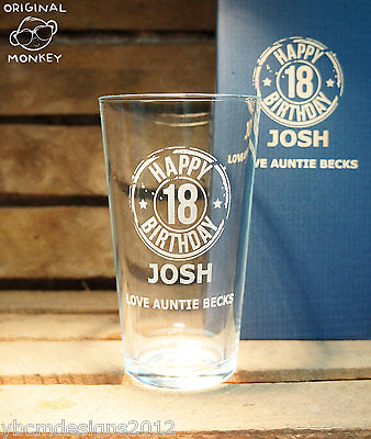 PERSONALISED ENGRAVED PINT GLASS GIFT 18th 21st 30th BIRTHDAY GIFT • 9.99£