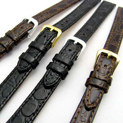 £5.99 • Buy Ladies Replacement Watch Strap Band In Glossy Croc Grain Leather 12mm 14mm