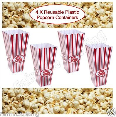 4x Reusable Novelty Plastic Popcorn Boxes Tub Carton Container Movie Party Treat • 6.49£