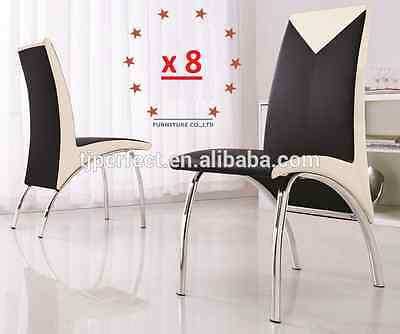 AU850 • Buy 8 X NEW MODERN Design DINING TABLE CHAIR PU LEATHER CHAIRS  BLACK & WHITE Trim