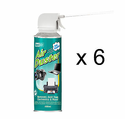 6 X 400ml Compressed Air Duster Cleaner Spray Can Canned Laptop Keyboard Mouse • 16.38£