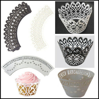 £4.95 • Buy 36 Cupcake Wrap Lace Cup Cake Liner Topper Wrapper Decor Laser Muffin Birthday