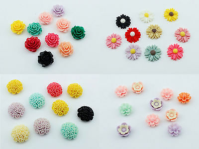 10 Resin Flower Rose Daisy 6-20mm Face Gems Embellishment Cabochon Decoden Craft • 1.49£
