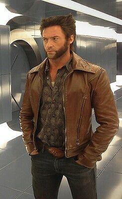 Xmen Wolverine Days Of Future Past Brown Genuine Leather Smart Collared Jacket • 65.99£