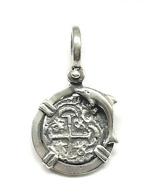 ATOCHA Coin With Dolphin Pendant 925 Sterling Silver Sunken Treasure Jewelry • 35$
