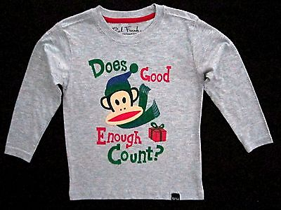 £5.66 • Buy Paul Frank Boys Size 2T Long Sleeve Grey 'Does Good Enough Count? Holiday Tee