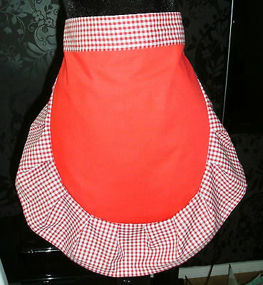 Ladies Red + White 50's Half Waist Apron Pinny Retro Vintage Style Frilly • 5.45£