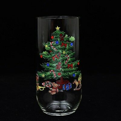 $4.99 • Buy Holiday Hostess Christmas Tree Tall Drinking Tumbler Glass 14 Oz