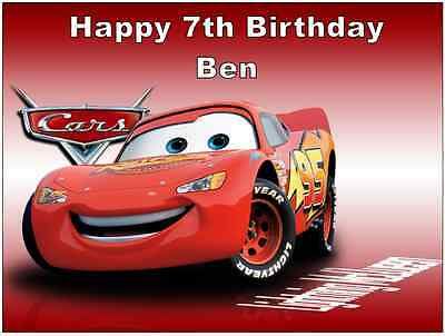 Cars Lightning Mcqueen Disney Personalised Cake Topper A4 Edible Wafer Paper • 1.90£
