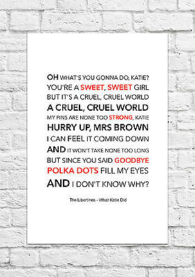 £6.99 • Buy The Libertines - What Katie Did - Song Lyric Art Poster - A4 Size