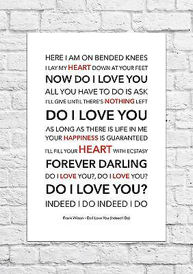 Frank Wilson - Do I Love You - Song Lyric Art Poster - A4 Size • 6.99£
