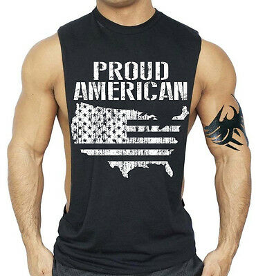 £8.67 • Buy Proud American USA Map Workout Vest Tank Top  Flag Bodybuilding Gym Muscle Shirt