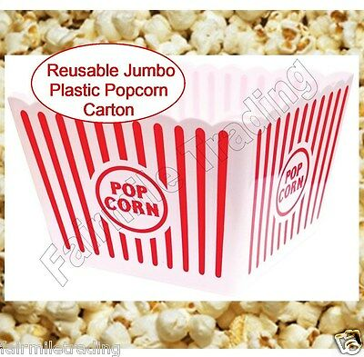 Jumbo Reusable Plastic Novelty Popcorn Carton Box Container Movie Party Snacks • 2.49£