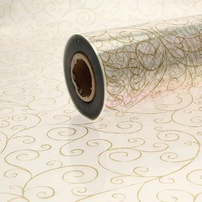 Gold Scroll Cellophane Wrap. Florist Quality / Bouquet / Gift /  1m - 100 Meters • 6.99£