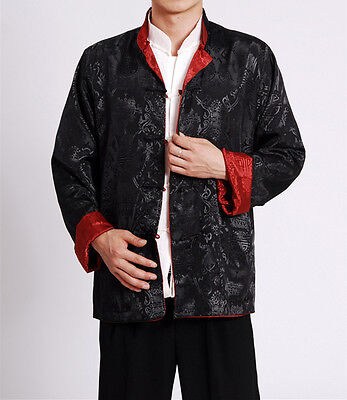 Double Sided Chinese Oriental Mens Kung Fu Satin Dragon Top Long Shirt Cmssh9 • 23.99£