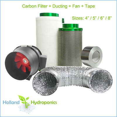 AU238.90 • Buy 4/5/6/8  FILTAROO CARBON FILTER/GROFAN/DUCTING/TAPE Hydroponics Ventilation Kit