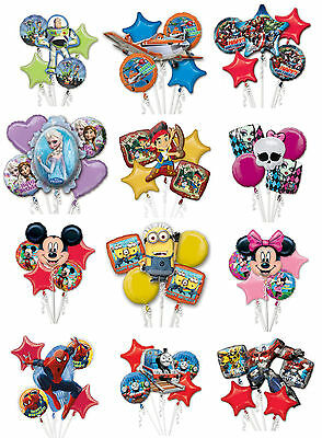 Foil HELIUM Boys Girls BIRTHDAY Character 5 Piece Party BALLOONS Bunch Bouquet • 9.99£
