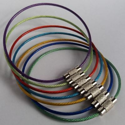 £2.60 • Buy Stainless Steel Wire With Screw Locking Key Chain Coated Colorful Plastic 15cm