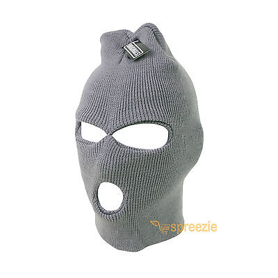 242937a304d Grey Ski Mask Beanie 3 Hole Knitted Cap Hat Warm Face Winter Snow Mens  Womens •