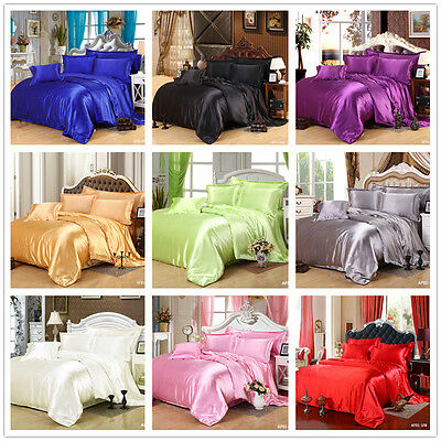AU58.73 • Buy Satin Quilt Duvet Doona Cover Set Queen King Size Bed Solid Color Pillowcases AU