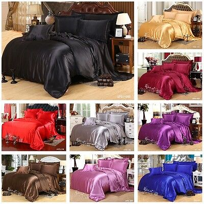 AU65.99 • Buy Satin Solid Color Quilt Duvet Doona Covers Set Queen King Size Bed Pillowcases