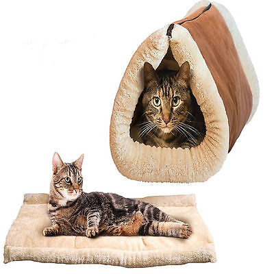 £10.99 • Buy 2in1AMAZING MAGIC SELF HEATING THERMAL PET TUNNEL BED CAT DOG PUPPY & WARM MAT
