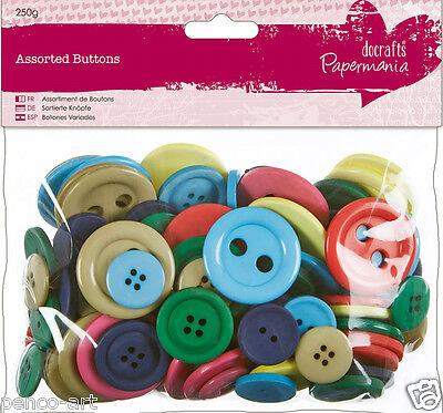£2.49 • Buy Papermania Mixed BRIGHTS Collection 250 Gram Bag Assorted Buttons Bright Colours