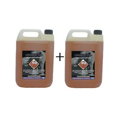 Pure Cold Pressed Linseed Oil 10 Litres (2 X 5ltr) For Horses + Wood - FREE Pump • 36.50£