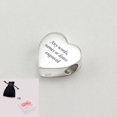 Personalised Heart Charm Beads With Any Engraving, Sterling Silver. • 21.99£
