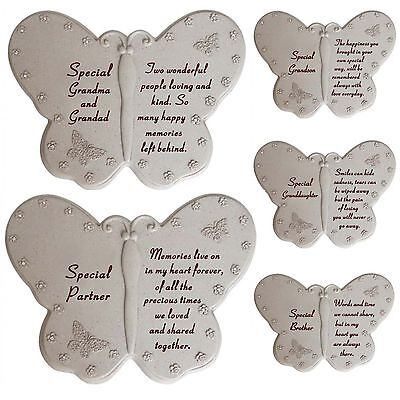 New Memorial Diamante Butterfly Book Remembrance Grave Stone Sentimental Plaques • 11.99£