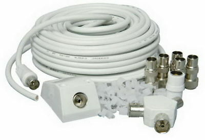 15m TV AERIAL COAXIAL CABLE EXTENSION KIT FREEVIEW CABLE PLUGS COAX LEAD • 9.99£