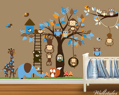 Monkey Animal Owl Wall Stickers Jungle Zoo Tree Nursery Baby Bedroom Decals Art • 15.89£