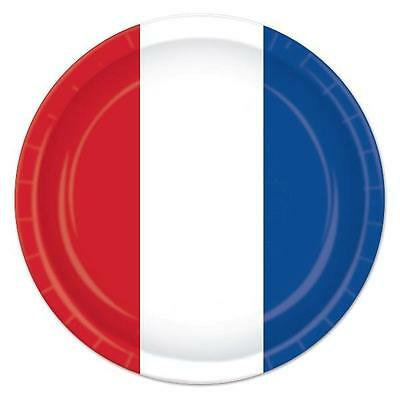 British French Paper Plates Pack Of 8 X 23cm Diameter Red White & Blue • 4.99£