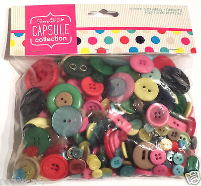 £2.49 • Buy Papermania 250 Gram Bag Assorted Plastic Buttons Capsule Mixed BRIGHTS