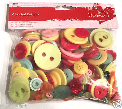 £2.49 • Buy Docrafts Papermania 250 Gram Bag Assorted Plastic Buttons VINTAGE Colours