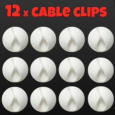 £3.25 • Buy 12 Cable Clip Tidy Wire Cord Lead Drop Usb Charger Holder Desk Management