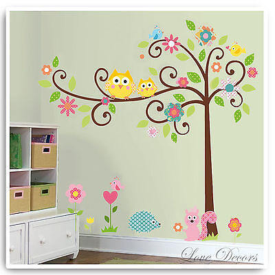 Animal Wall Stickers Owl Monkey Jungle Zoo Tree Nursery Baby Bedroom Decals Art • 8.89£